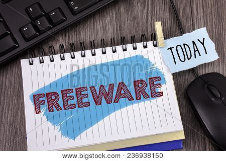 Text Sign Showing Freeware. Conceptual Photo Software Application That Is Available For Use At No Mo