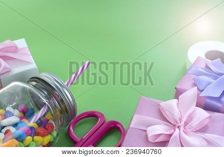 Festive Composition Set Of Gift Boxes With Balls Candy Cocktail Materials. Top View Copy Space For Y