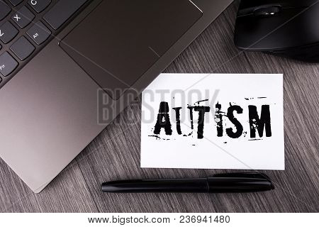 Writing Note Showing  Autism. Business Photo Showcasing Autism Awareness Conducted By Social Committ