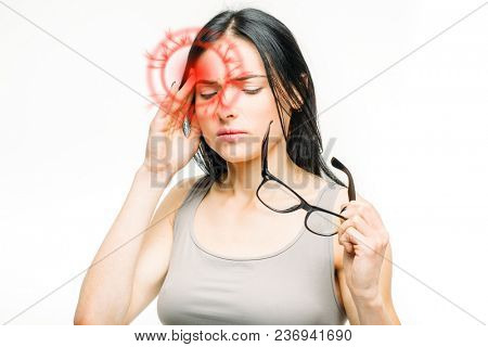 Headache, sick woman with temple pain isolated on white background. Female person in lingerie, medical advertising or concept