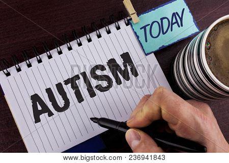 Handwriting Text Writing Autism. Concept Meaning Autism Awareness Conducted By Social Committee Arou