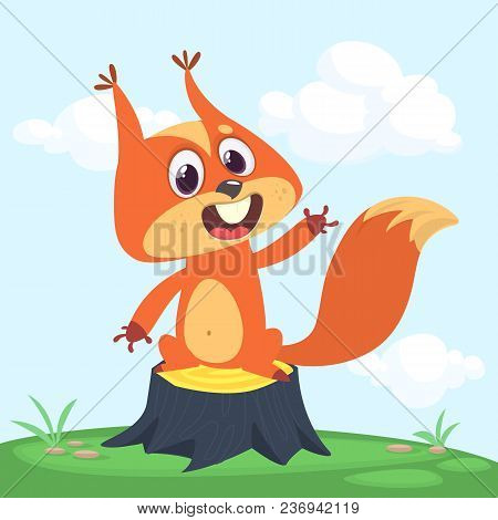 Red Squirrel Vector Illustration. Cartoon Squirrel Character Waving Paw