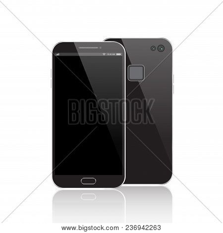 Modern Black Smartphone Isolated. Front And Back Of Vector Smartphone Illustration. Cell Phone Mocku