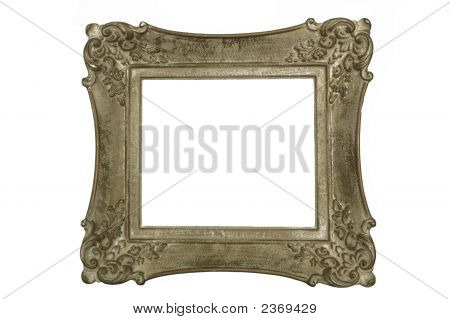 Antique Carved Wood Picture Frame Isolated On White