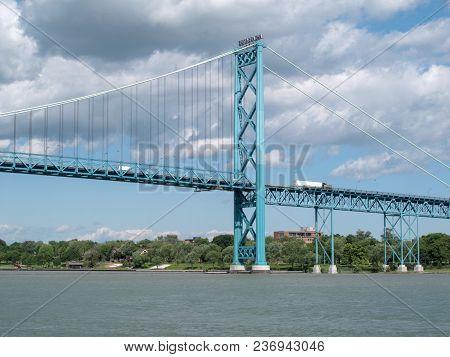 The Ambassador Bridge, Carries Vehicular Traffic Between Detroit, Michigan, Usa And Windsor, Ontario