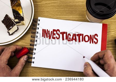 Conceptual Hand Writing Showing Investigations. Business Photo Showcasing Formal Inquiry Systematic