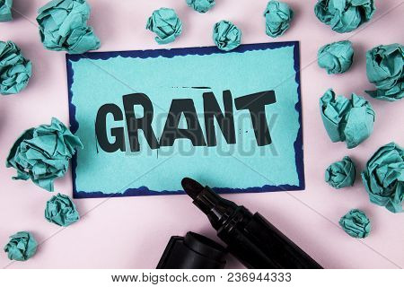 Word Writing Text Grant. Business Concept For Money Given By An Organization Or Government For A Pur