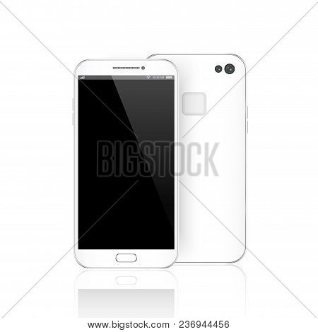 Modern White Smartphone Isolated. Front And Back Of Vector Smartphone Illustration. Cell Phone Mocku
