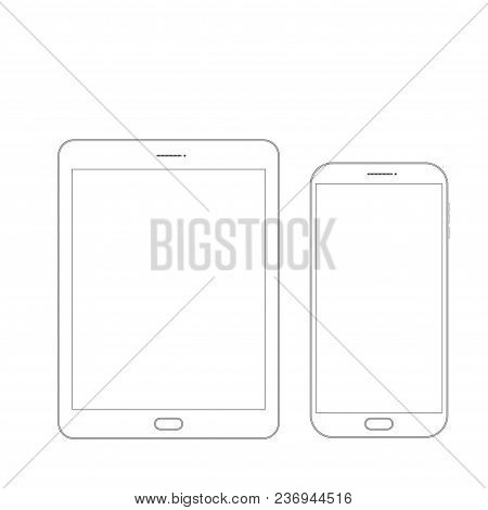 Outline Drawing Tablet And Smartphone. Elegant Thin Line Style Design