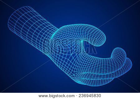 Human Arm. Hand Model. Connection Structure. Future Technology Concept. Vector Low Poly Wireframe Me