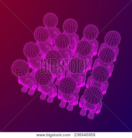 Wireframe Low Poly Mesh Human Crowd In Virtual Reality. Medical Blueprint Scanned 3d Model. Polygona