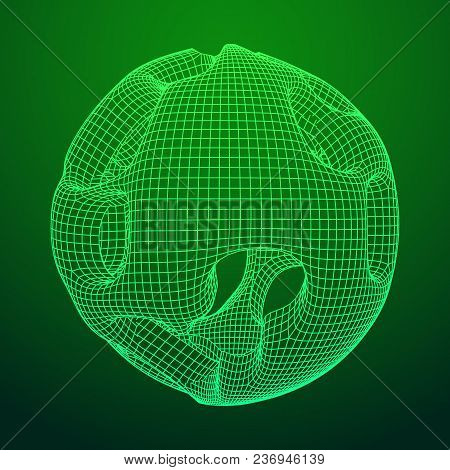 Abstract Vector Wireframe Sphere Globe With Holes Looks Like Small Planet Or Asteroid. Vector Low Po