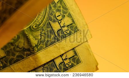 Macro View Of One Dollar Bill Close-up