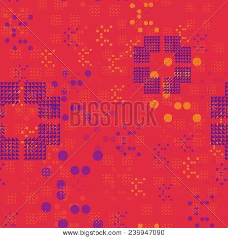 Chaotic Random Geometry Seamless Pattern. Abstract Geometry Series.