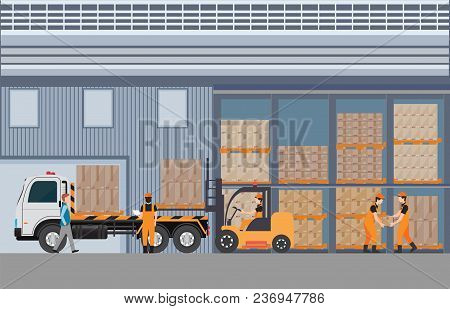 Workers Man Loading The Truck With Pallets Of Goods At The Industrial Warehouse With A Forklift Truc