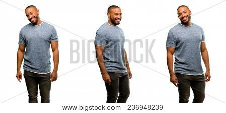 African american man with beard confident and happy with a big natural smile laughing, natural expression