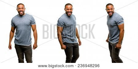 African american man with beard angry and stressful frowns face in dissatisfaction, irritated and annoyed, expressing anger