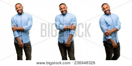 African american man with beard confident and happy with a big natural smile laughing