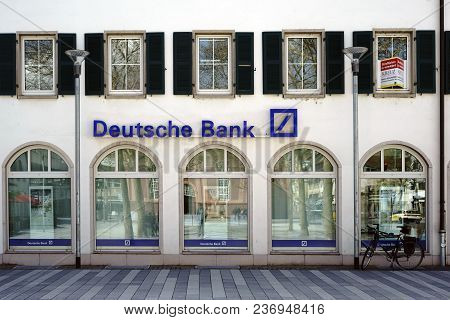 Ruesselsheim, Germany - April 11: The Exterior Facade Of A Deutsche Bank Branch On The Marketplace O