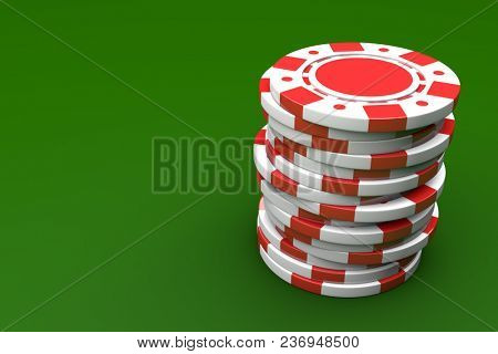 White and Red Gambling Chip Stack on Green Gaming Table Surface. Casino Background. 3D Illustration.