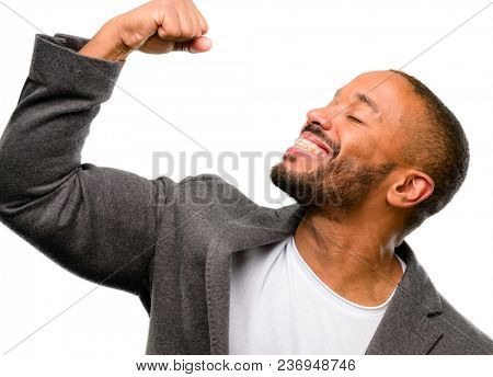 African american man with beard happy and excited celebrating victory expressing big success, power, energy and positive emotions. Celebrates new job joyful isolated over white background