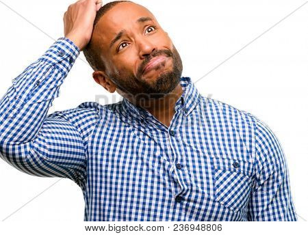 African american man with beard doubt expression, confuse and wonder concept, uncertain future isolated over white background