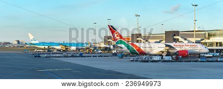 Amsterdam, Netherlands - March 20, 2018: Plains Of Klm Royal Dutch Airlines In Amsterdam Internation