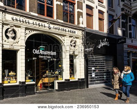 Amsterdam, Netherlands - March 20, 2018 : Old Amsterdam Cheese Store In Amsterdam