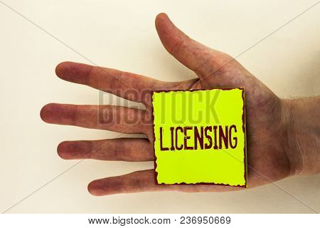 Word Writing Text Licensing. Business Concept For Grant A License Legally Permit The Use Of Somethin