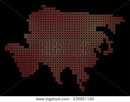 Dot Orange Asia Map. Vector Geographic Map In Fire Color Tints On A Black Background. Vector Mosaic