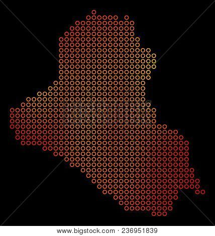 Dot Orange Iraq Map. Vector Territorial Map In Fire Color Variations On A Black Background. Vector C