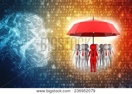 3d Illustration Of Business People Under An Umbrella, Business Insurance Concept