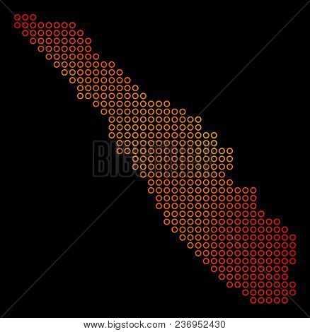 Dotted Orange Sumatra Island Map. Vector Geographic Map In Orange Color Tones On A Black Background.