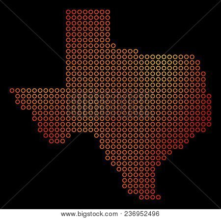 Dotted Fire Texas Map. Vector Territorial Map In Orange Color Hues On A Black Background. Vector Col