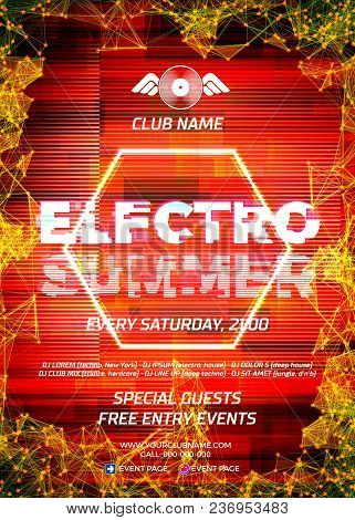 Glitch Party Poster With Red Background And Hexagon For Techno Rave Club Nights. Advertising Leaflet
