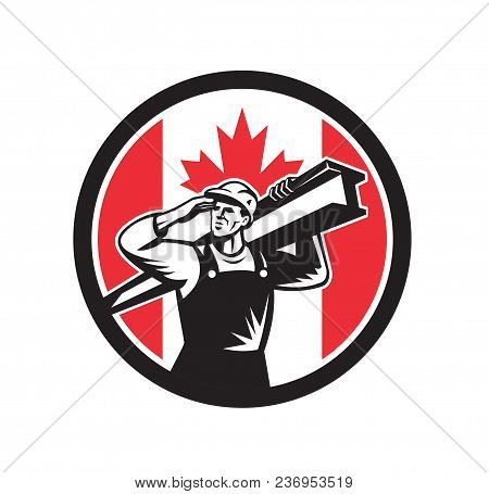 Icon Retro Style Illustration Of A Canadian Construction Worker Carrying An I-beam On Shoulder With