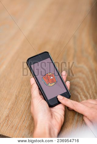 Person using a phone with education icon on the screen