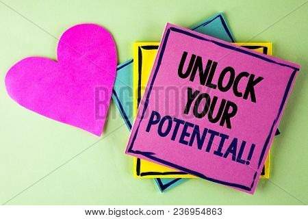 Writing Note Showing  Unlock Your Potential Motivational Call. Business Photo Showcasing Reveal Tale