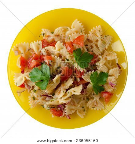 Pasta On A Plate. Pasta Tomatoes, Onions, Cabbage  Isolated On White Background