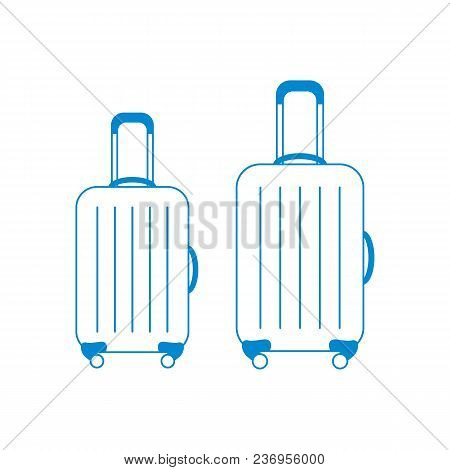 Vector Illustration Of Suitcases For Travel. Summer Time, Vacation. Design For Banner, Poster Or Pri