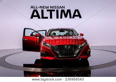 NEW YORK CITY-MARCH 28: Nissan Altima Platinum shown at the New York International Auto Show 2018, at the Jacob Javits Center. This was Press Preview Day One of NYIAS, on March 28, 2018.
