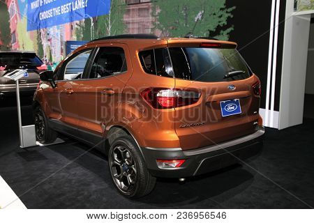 NEW YORK CITY-MARCH 28: Ford Ecosport SES shown at the New York International Auto Show 2018, at the Jacob Javits Center. This was Press Preview Day One of NYIAS, on March 28, 2018.