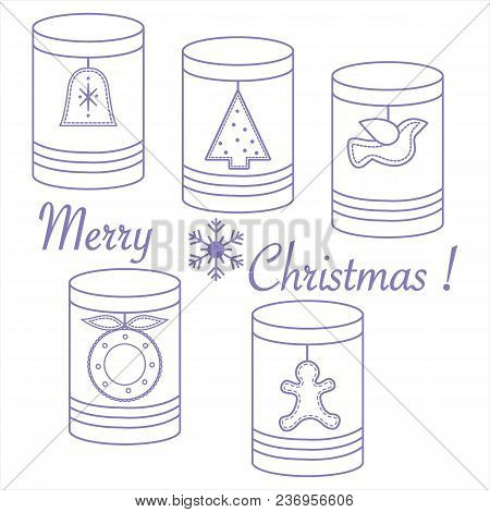 Jars For Different Products With Christmas And New Year Tags: Christmas Tree, Bell, Bird, Christmas