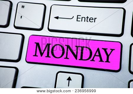 Text Sign Showing Monday. Conceptual Photo First Day Of The Week Back To Work Weekend Is Over Wakeup