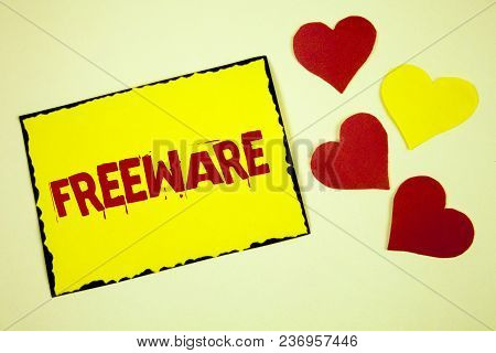 Writing Note Showing  Freeware. Business Photo Showcasing Software Application That Is Available For