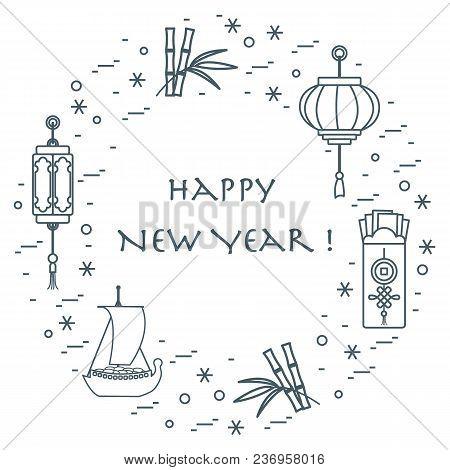 New Year Symbols: Japanese Treasure Ship, Bamboo, Chinese Lanterns And Red Envelopes Of Money Arrang