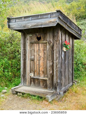 Old wooden outhouse in Norway