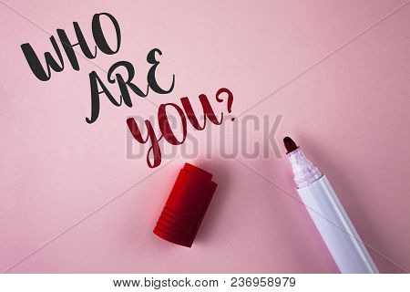 Conceptual Hand Writing Showing Who Are You Question. Business Photo Showcasing Introduce Or Identif