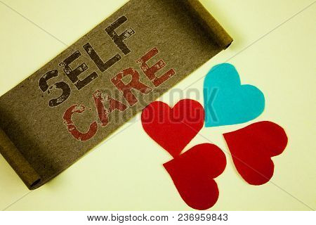 Text Sign Showing Self Care. Conceptual Photo Protection You Give To Yourself Individual Control Che