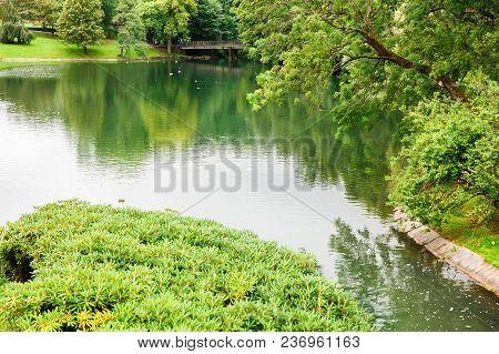 Pond, Trees, Bridge With People In Vigeland Park In Oslo.